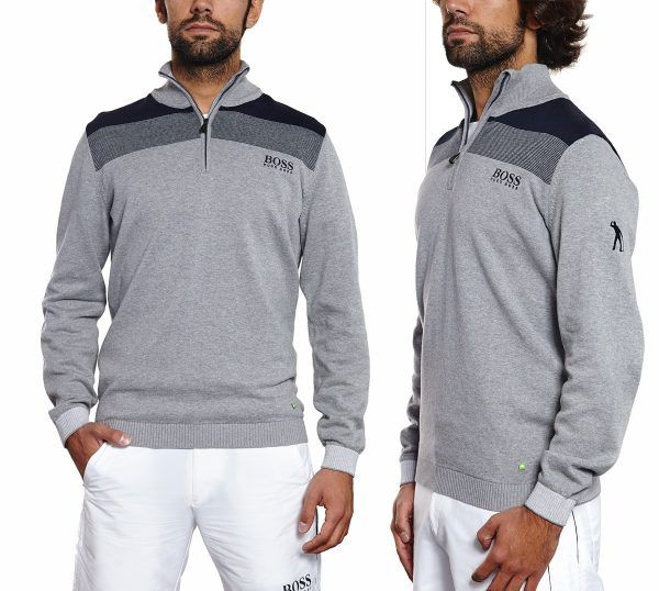 Water repellent stretch cotton sweater with zipper Seve Ballesteros Special Edition by BOSS